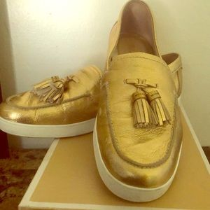 Michael Kors Callahan Gold Loafers 10